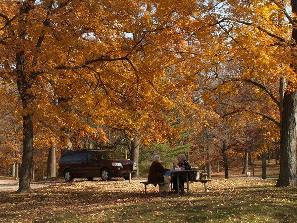 A mother and a daughter enjoy the afternoon during a picnic at Glen Miller Park in Richmond, Indiana. thumbnail