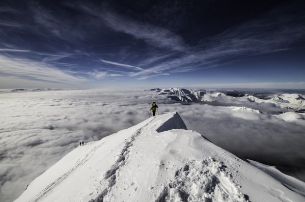 Skier on the top of a Slovakia's holy mountain thumbnail