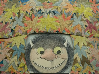"""Maurice Sendak, """"Diorama of Moishe scrim and flower proscenium (Where the Wild Things Are),"""" 1979-1983, watercolor, pen and ink, and graphite pencil on laminated paperboard."""