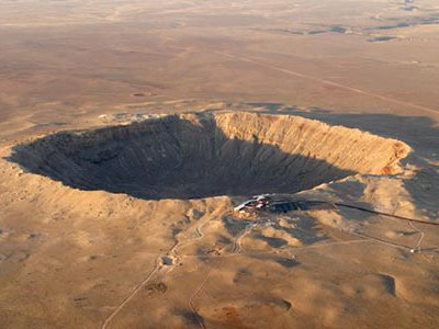 Meteor Crater in Arizona is 4,000 feet wide and almost 600 feet deep.