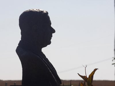 A sculpture of Hendrick Verwoerd, the architect of apartheid in South Africa.