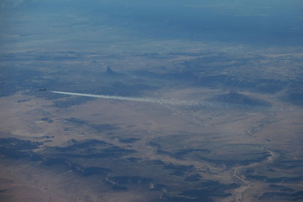 A jet leaves a contrail over the southwestern United States. thumbnail