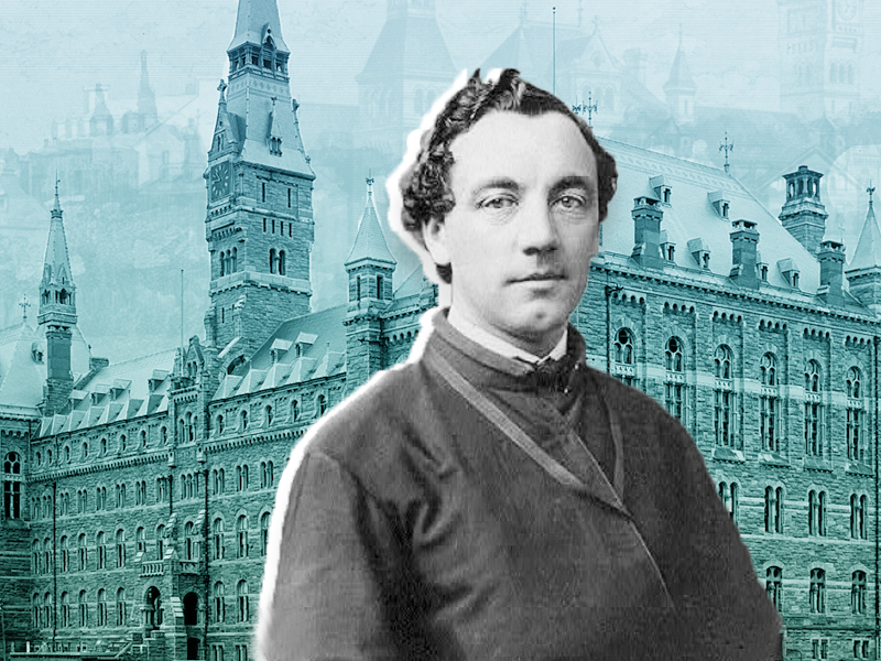 Illustration of Patrick Francis Healy in front of Georgetown University's Healy Hall