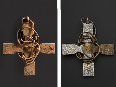 This rare Anglo Saxon cross spent more than 1,000 years buried in a Scottish field. Left: the cross pre-conservation, and right: the cross mid-cleaning
