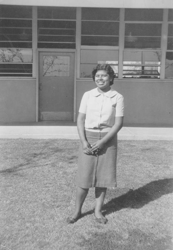 Black and white photo of Jessica Govea