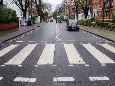 The Abbey Road crosswalk, which has been moved slightly since 1969, in modern times.