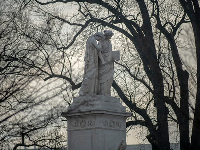 The Peace Memorial stands in front of the Capitol in Washington, D.C., on January 15, 2021, nine days after the storming of Congress.
