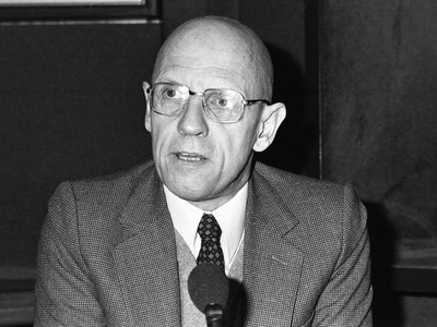 French philosopher Michael Foucault in a studio during a radio broadcast in Paris, France, on December 16, 1981.