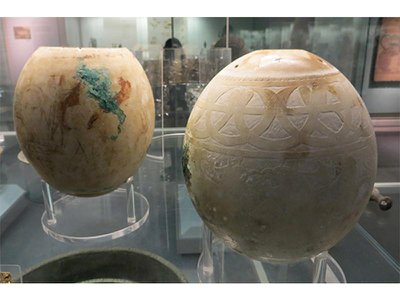 Decorated eggs from the Isis Tomb, Vulci, Italy, on display in the British Museum