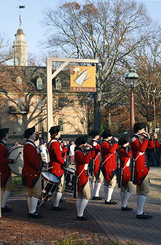 Fifes & Drums playing, Duke of Gloucester St., Capitol beyond, Colonial Williamsburg, VA thumbnail