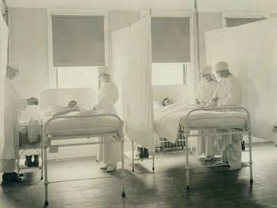 A ward at the Mare Island Naval Hospital in California during the influenza epidemic, November 1918