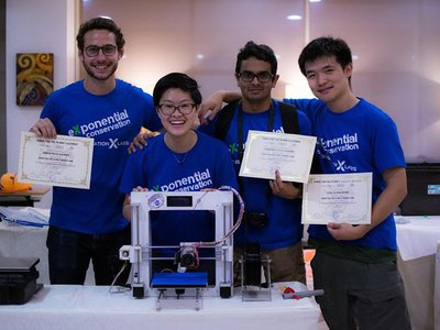 Cormac Hondros-McCarthy, Lauren Shum, Parth Sagdeo and Ted Zhu celebrate their successful top prize spot at the Make for the Planet Borneo hackathon in Kuching, Malaysia in June 2018.