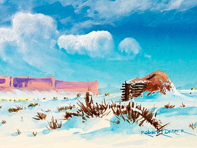 """""""Hogan in the Snow,"""" ca. 1985. Painted by Robert Draper (Diné [Navajo], 1938–2000). Chinle, Navajo Nation, Arizona. 26/6481 (National Museum of the American Indian, Smithsonian)"""