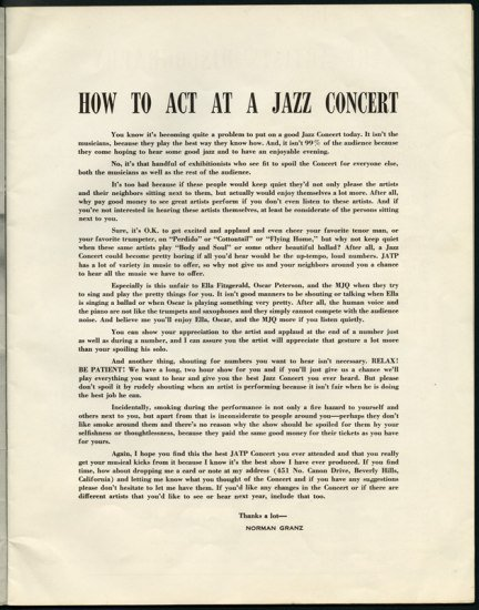 """""""How to act at a jazz concert"""" printed leaflet"""