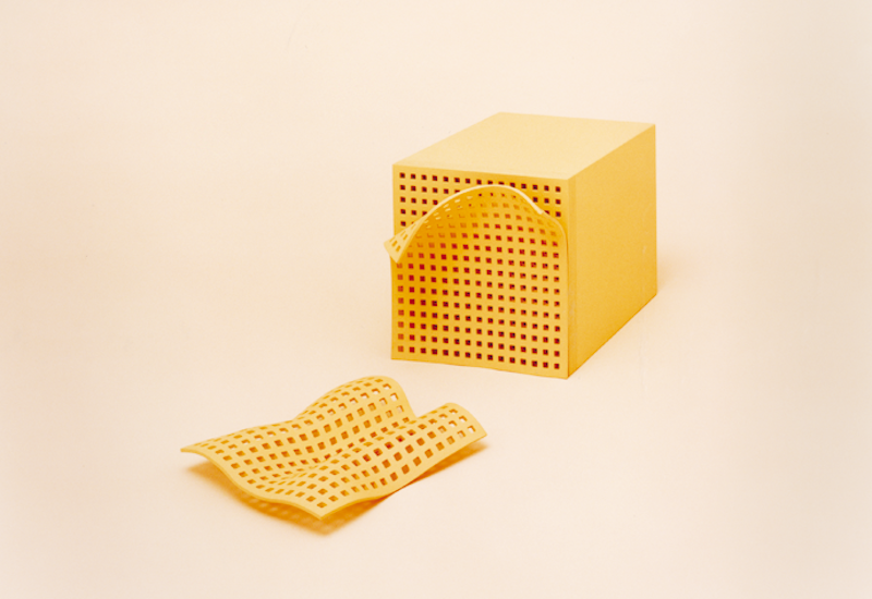 """Manipulating a grid is a common trope among architects and it's the focus of this design, """"Punching Macaroni,"""" by Mayumi Mikyawaki. As each thinly sliced noodle cooks, it will create a unique distortion of the grid to """"waver voluptuously"""" on the plate."""