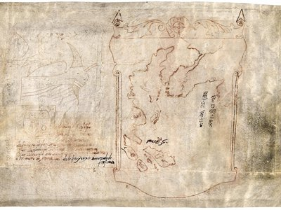"""""""Map with Ship"""" has the informality of a """"napkin sketch on vellum,"""" says map expert John Hessler, suggesting its maker was not a trained cartographer."""