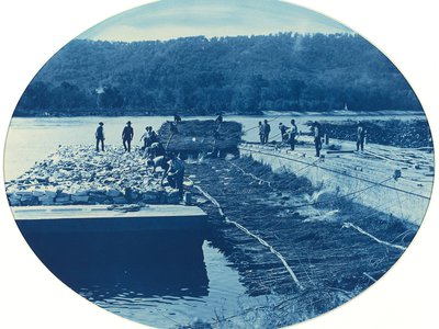 Henry Peter Bosse Construction of Rock and Brush Dam, L.W., 1891 cyanotype