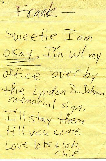 "Handwritten note on yellow paper ""Frank —Sweetie, I am ok"""