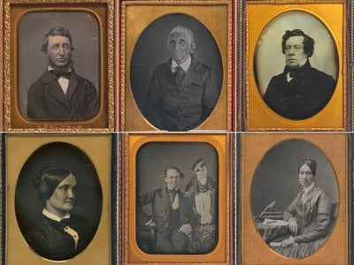 Among the colorful characters immortalized in the colorless daguerreotype medium are (clockwise from upper left): writer Henry Thoreau, Seneca leader Blacksnake, Navy Commodore Matthew Perry, mental health crusader Dorothea Dix, showmen P.T. Barnum and Tom Thumb, and actress Charlotte Cushman.