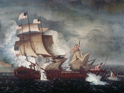 USS Constitution vs. HMS Guerriere by Thomas Birch, circa 1813