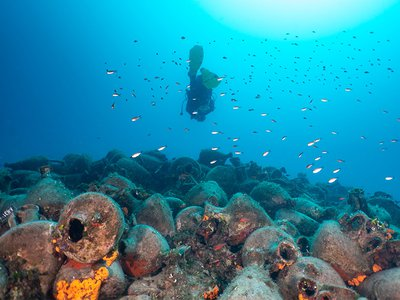 The wreck of an ancient Greek ship, the Peristera, rests at a depth of 92 feet below the water's surface.