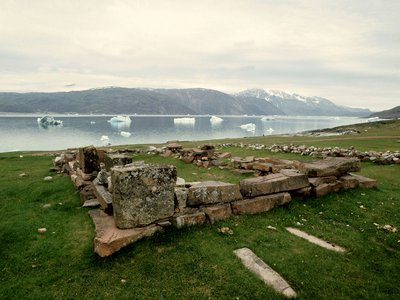 The site of Brattahlid, the eastern settlement Viking colony in southwestern Greenland founded by Erik the Red near the end of the 10th century A.D.