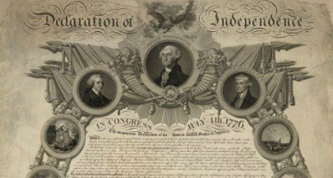 An ornamental copy of the Declaration of Independence