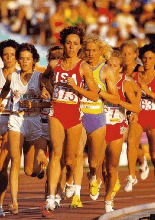 Left-right: Zola Budd, Mary Decker, Maricica Puică, 3000 m, 1984 Olympics