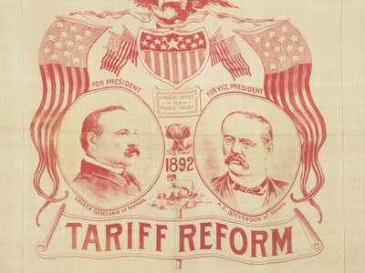 In the late 19th century, the Democratic Party (represented here by Grover Cleveland and his running mate Adlai Stevenson) was the party of free trade, while the GOP was the faction of harsh tariffs. By the late 20th century, these roles had completely reversed.