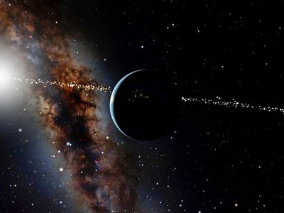 An artist's rendering of the Earth and sun seen from space. Astronomers on Earth can detect other worlds when far away stars flicker as an orbiting planet passes in front of them, partly blocking our view. New research asks how many alien worlds might have been able to detect Earth in this way.