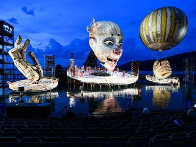 A scene from Verdi's opera Rigoletto during a photo rehearsal on the lake stage as part of the Bregenz Festival. The premiere will take place on July 17.