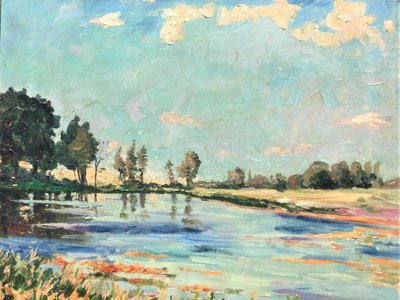 Churchill painted Lake Scene at Norfolk with bright colors inspired by Impressionists like Monet sometime in the 1930s.