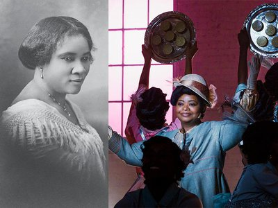 """Left: Walker in 1912; Right: Octavia Spencer as the inspiring businesswoman in the Netflix series """"Self Made,"""" which debuts this month."""