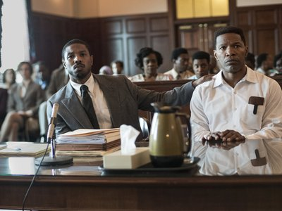 Michael B. Jordan (left) and Jamie Foxx (right) star in Just Mercy as civil rights lawyer Bryan Stevenson and falsely accused death row inmate Walter McMillian, respectively.