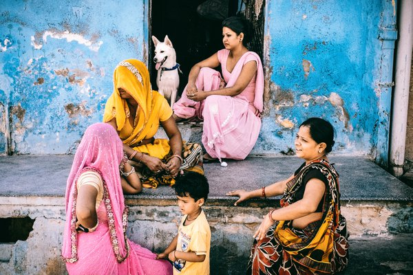 A Colourful Family and a White Dog thumbnail