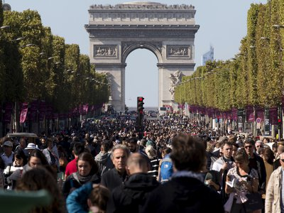 People flocked to the streets during Paris' car-free day.