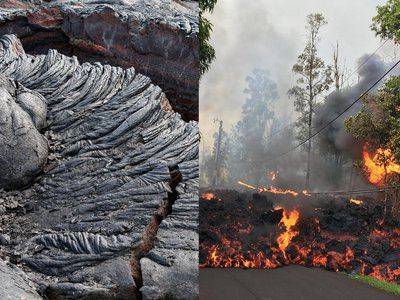 Left: A cooled pāhoehoe flow from the Kīlauea, showing its characteristic ropey texture, captured in 2012 (imageBROKER / Alamy). Right: An 'a'ā flow from Kīlauea moves down Makamae Street in Leilani Estates, Hawaii on May 6, 2018.
