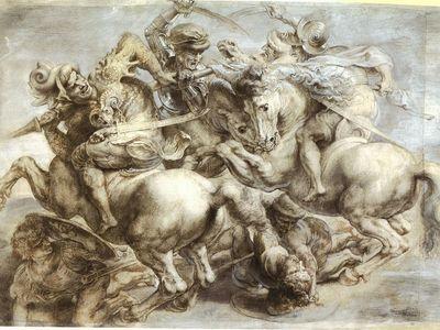 Peter Paul Rubens' sketch of The Battle of Anghiari, c. 1603