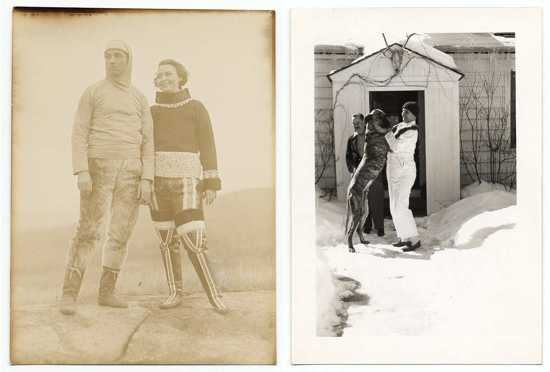 Two photographs of Rockwell Kent in cold weather