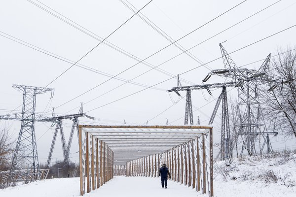 Moscow landscape. Walkways under high-voltage wires thumbnail