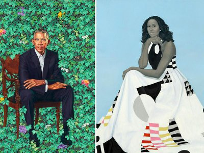 Portraits of Barack and Michelle Obama painted by Kehinde Wiley and Amy Sherald, respectively