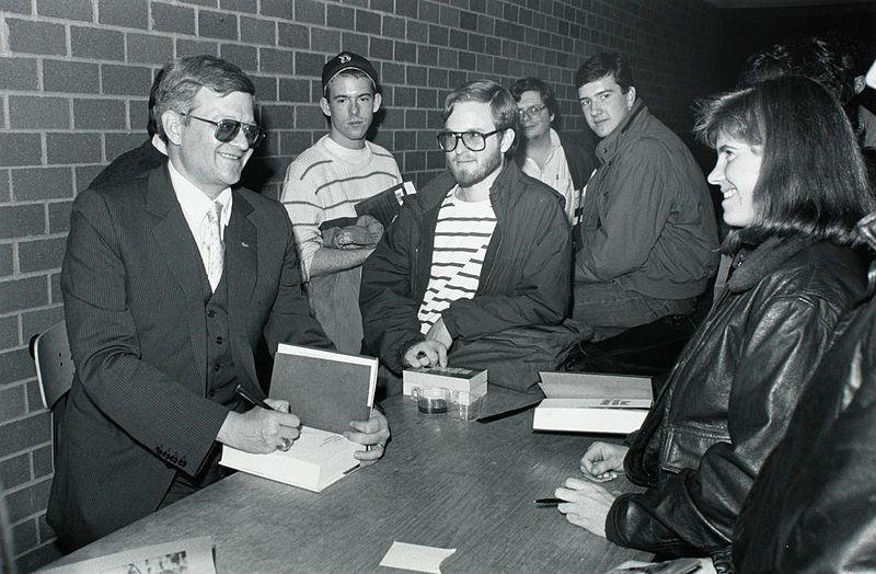 Tom Clancy at a book signing at Boston College.