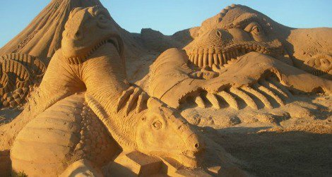 Sand sculpture dinosaurs, as seen in Albufeira, Portugal