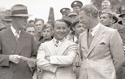 Grantland Rice, Gene Sarazen and Craig Wood at the 1935 Augusta National Invitational Tournament.