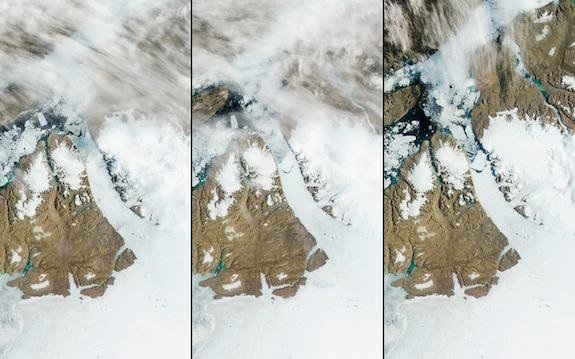 Greenland's Glaciers Are Hemorrhaging Ice, Best Seen By Photos from Space