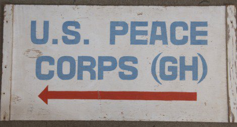 Sign from the Peace Corps' first office in Ghana