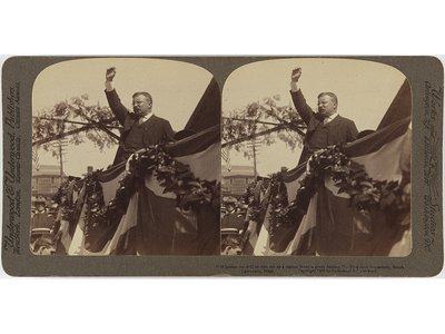 """Gelatin silver print of  Theodore Roosevelt. Dimensions: Mount: 9 × 17.9 cm (3 9/16 × 7 1/16"""")"""