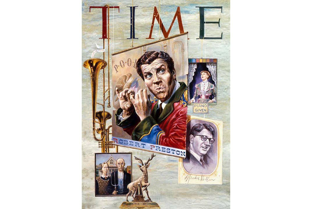 """Robert Preston shimmied and sang his way to fame as """"Professor"""" Harold Hill in the 1957 Tony Award-winning musical """"The Music Man."""" Aaron Bohrod NPG, SI; gift of Time Magazine"""