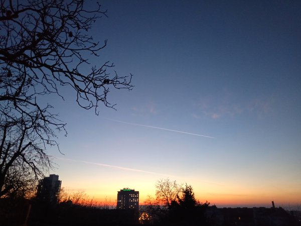 Jet trails on an autumn dusk thumbnail