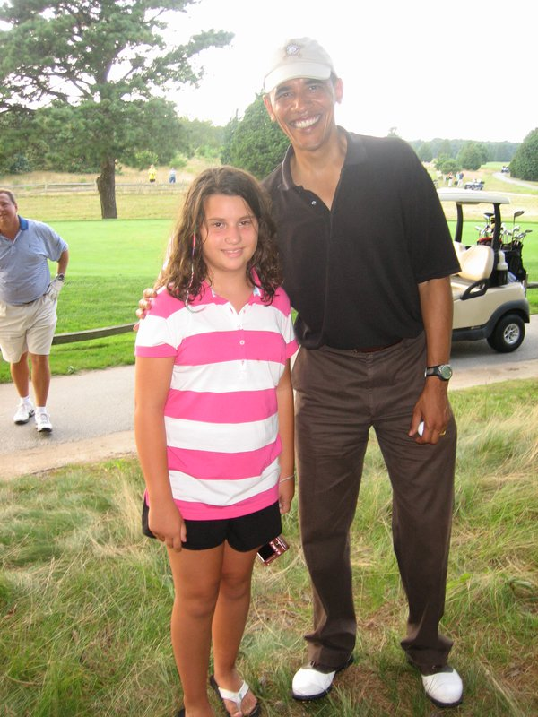 President Obama greeting Lauren Murro at Farm Neck Golf Club on Martha's Vineyard thumbnail